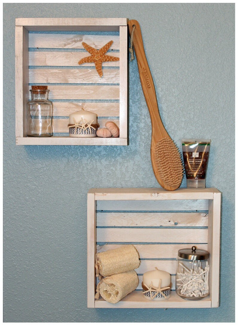 rustic beach crate wall shelves set of 2 - shabby chic home storage organization -f52861